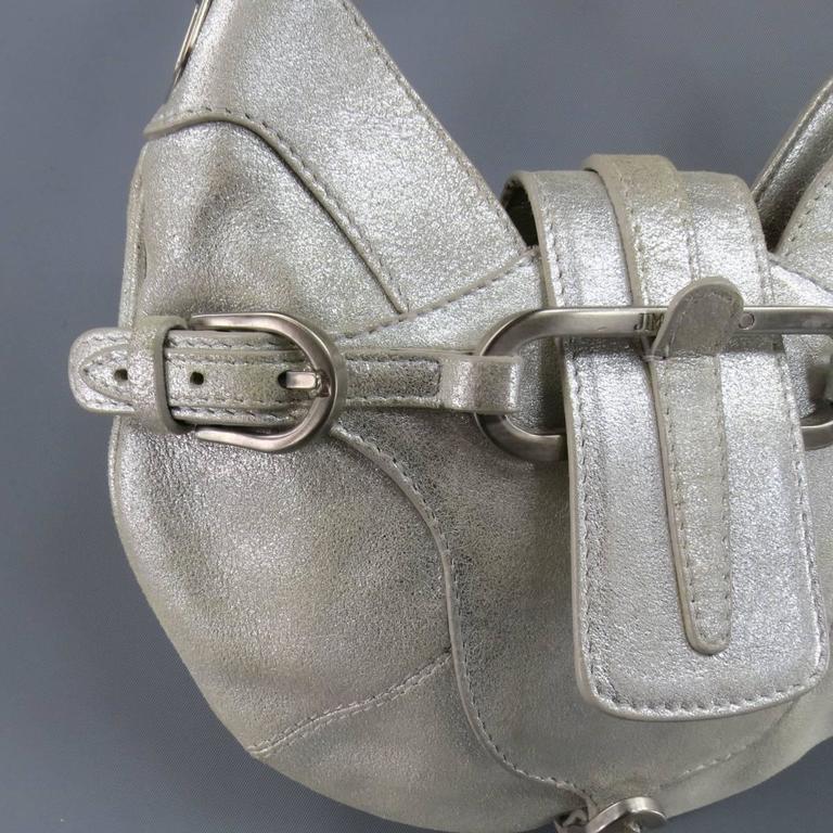 JIMMY CHOO Metallic Silver Leather Mini Tulita Hobo Purse 4