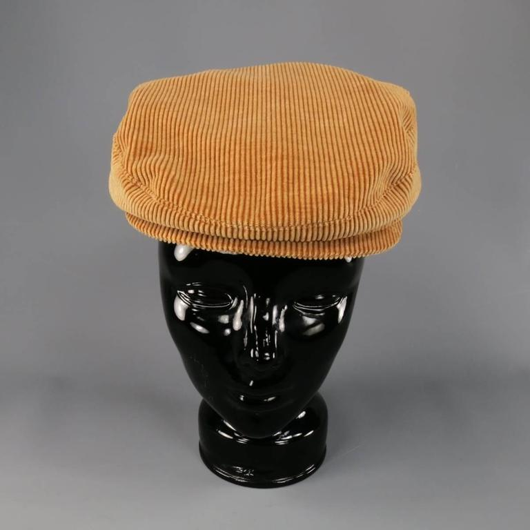 Vintage CHANEL Size L Tan Corduroy Page Boy Cap Hat 3