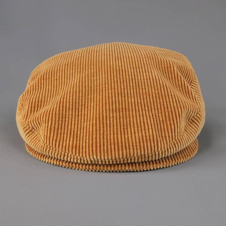 Vintage CHANEL Size L Tan Corduroy Page Boy Cap Hat 5