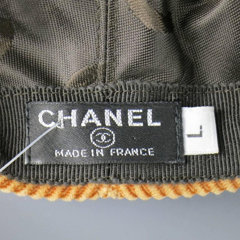 Vintage CHANEL Size L Tan Corduroy Page Boy Cap Hat 10