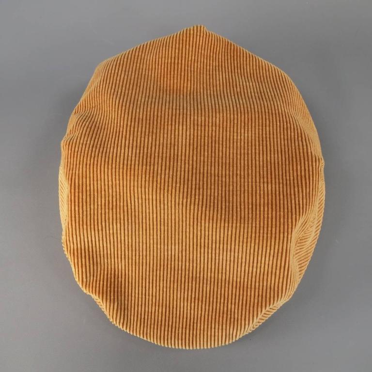 Vintage CHANEL Size L Tan Corduroy Page Boy Cap Hat For Sale 2