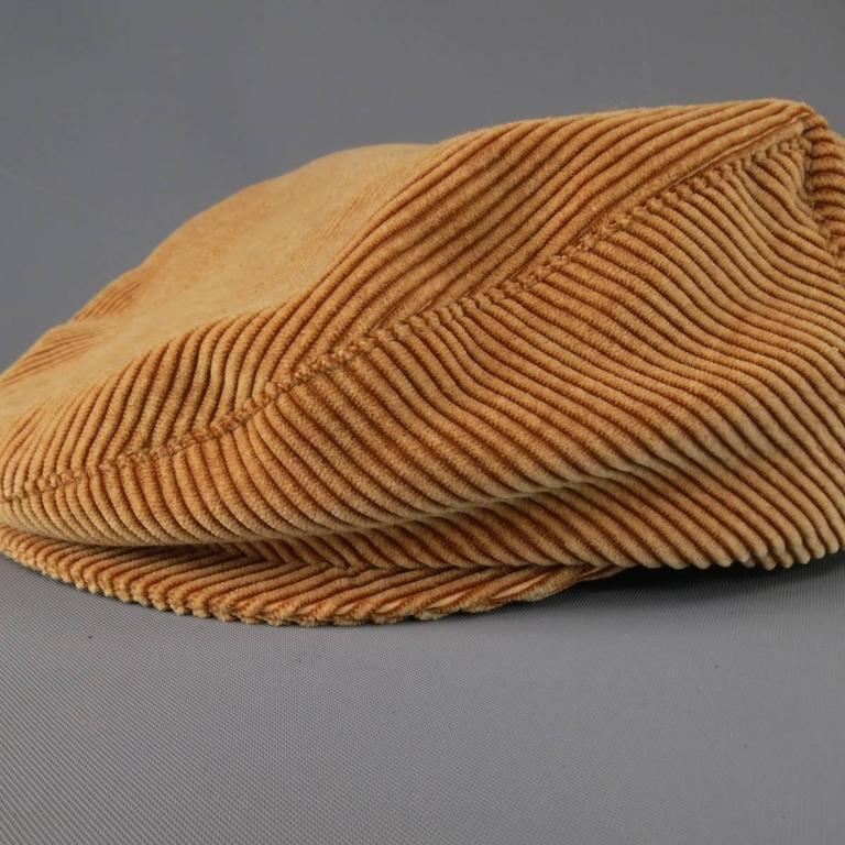 Vintage CHANEL Size L Tan Corduroy Page Boy Cap Hat For Sale 3