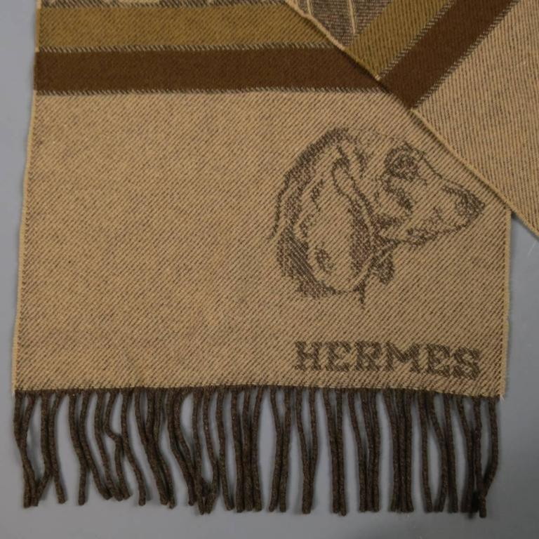 Vintage Hermes Brown And Beige Wool Cashmere Striped