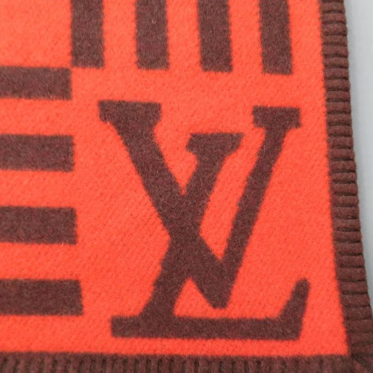 Louis Vuitton Orange And Brown Wool Cashmere Karakoram