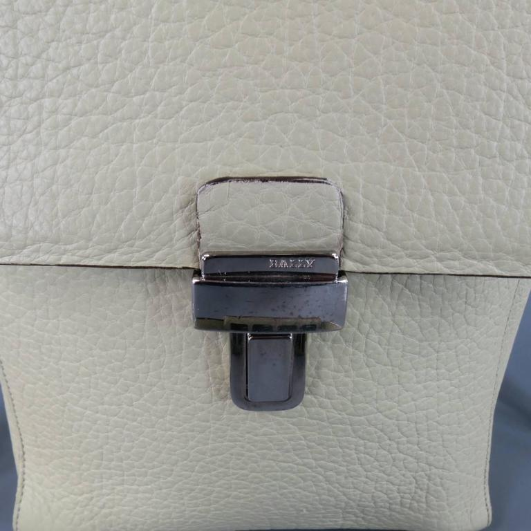 Women's or Men's BALLY Mint Green Beige Textured Leather Cross Silver Buckle Body Bags For Sale
