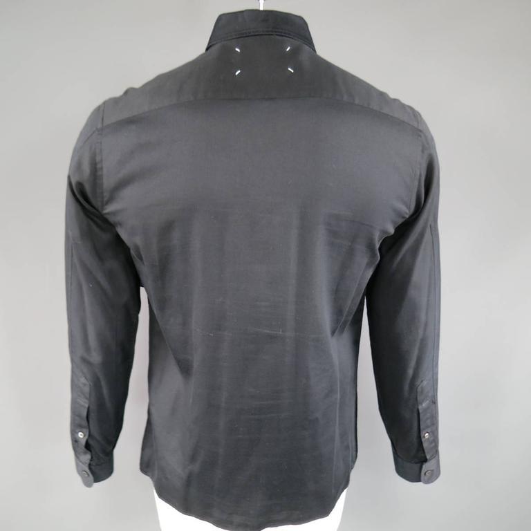 Men's MAISON MARTIN MARGIELA Size M Black Cotton Button Stud Removable Collar Shirt For Sale