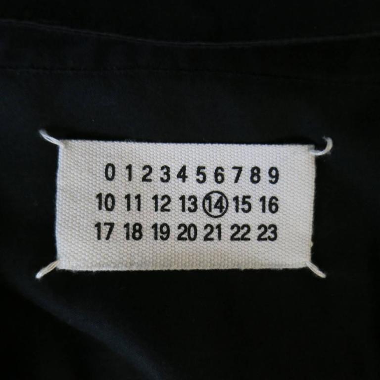 MAISON MARTIN MARGIELA Size M Black Cotton Button Stud Removable Collar Shirt For Sale 2