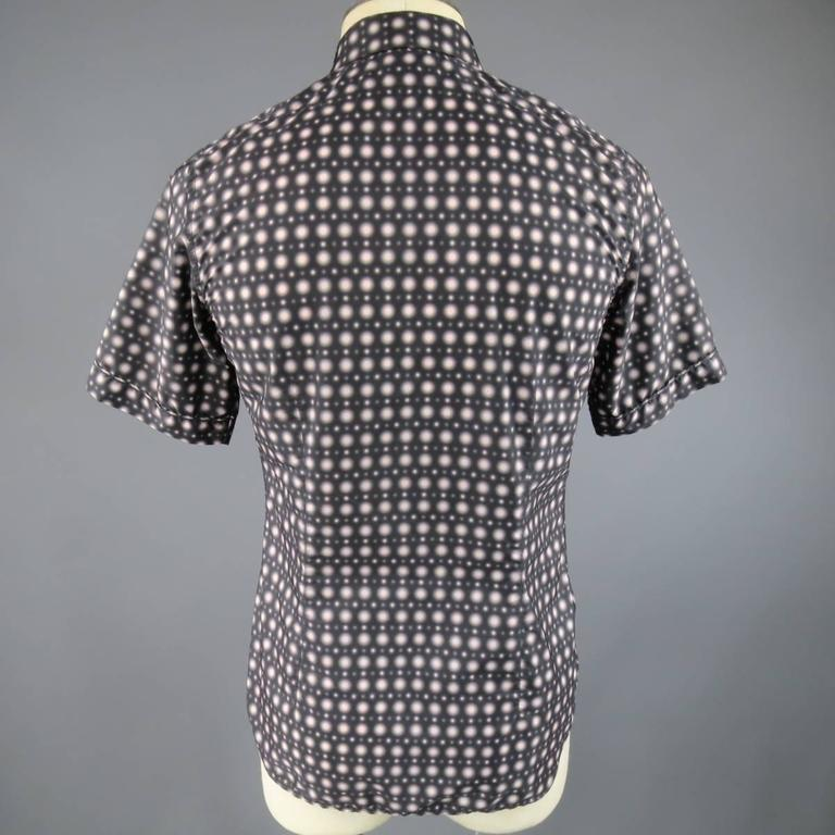Gray Men's JIL SANDER Size S Charcoal & Pink Spotted Polyamide Strontium Shirt For Sale