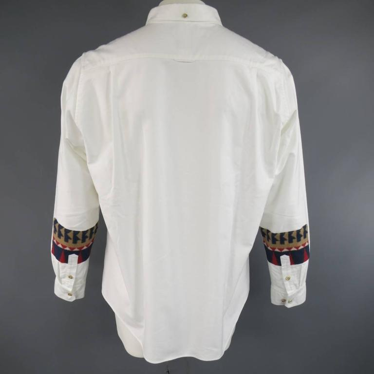 6a7cd6239f53 Men s VISVIM Size XL White Cotton Long Sleeve Fleece Elbow Patch Shirt For  Sale 1