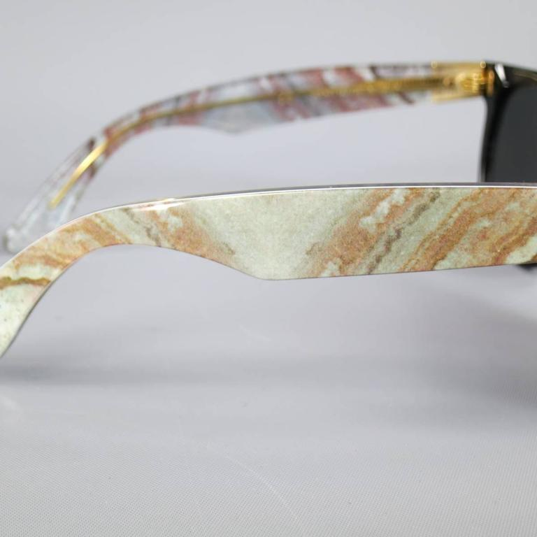 RETRO SUPER FUTURE Black & Grey Marble Arm Wayfarer Sunglasses In Excellent Condition For Sale In San Francisco, CA