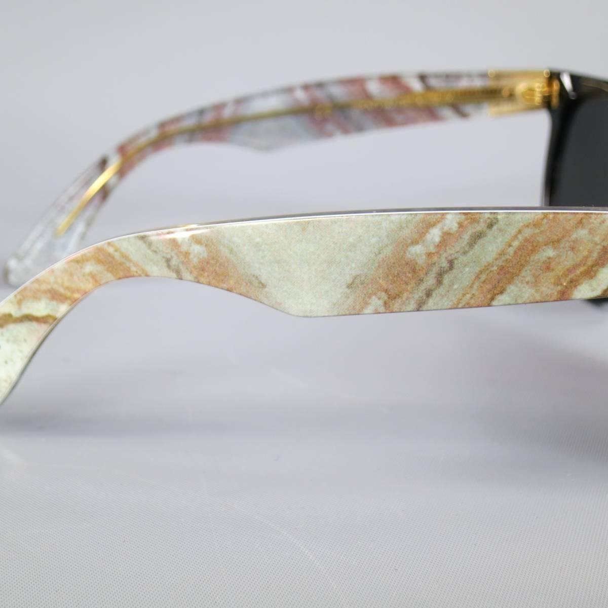 648be969eb RETRO SUPER FUTURE Black and Grey Marble Arm Wayfarer Sunglasses at 1stdibs