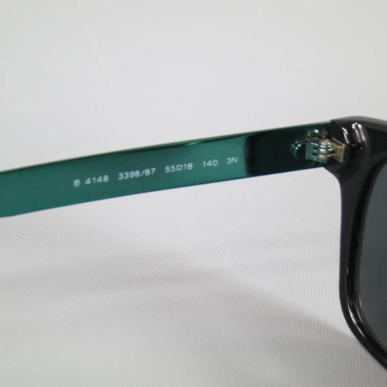 Women's or Men's BURBERRY Black & Teal Green Metallic Arm Wayfarer Sunglasses For Sale