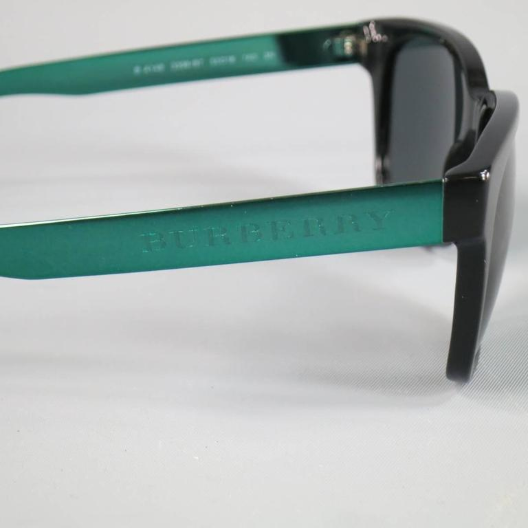 BURBERRY Black & Teal Green Metallic Arm Wayfarer Sunglasses In Good Condition For Sale In San Francisco, CA