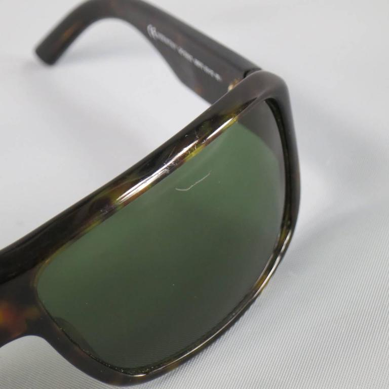 Vintage GUCCI Brown Tortoise Shell Acetate Retro Logo Sunglasses For Sale 1