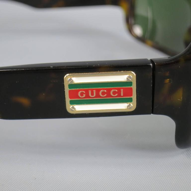 Black Vintage GUCCI Brown Tortoise Shell Acetate Retro Logo Sunglasses For Sale