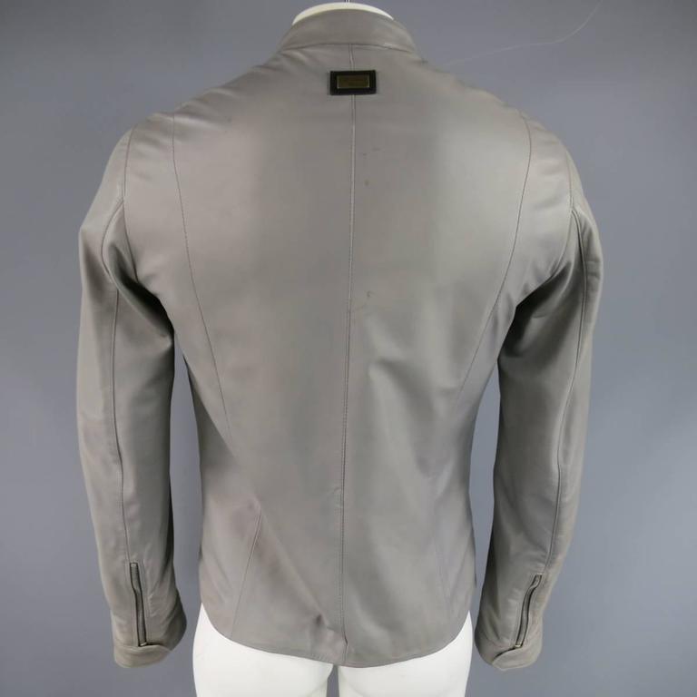 Men's DOLCE & GABBANA 38 Light Gray Leather Hidden Placket Moto Jacket 6