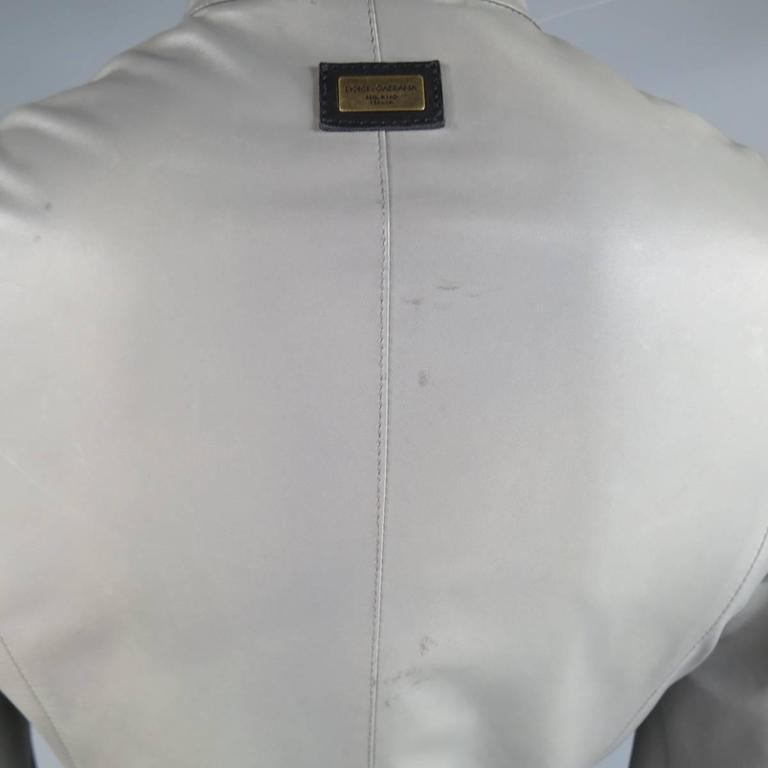 Men's DOLCE & GABBANA 38 Light Gray Leather Hidden Placket Moto Jacket 5