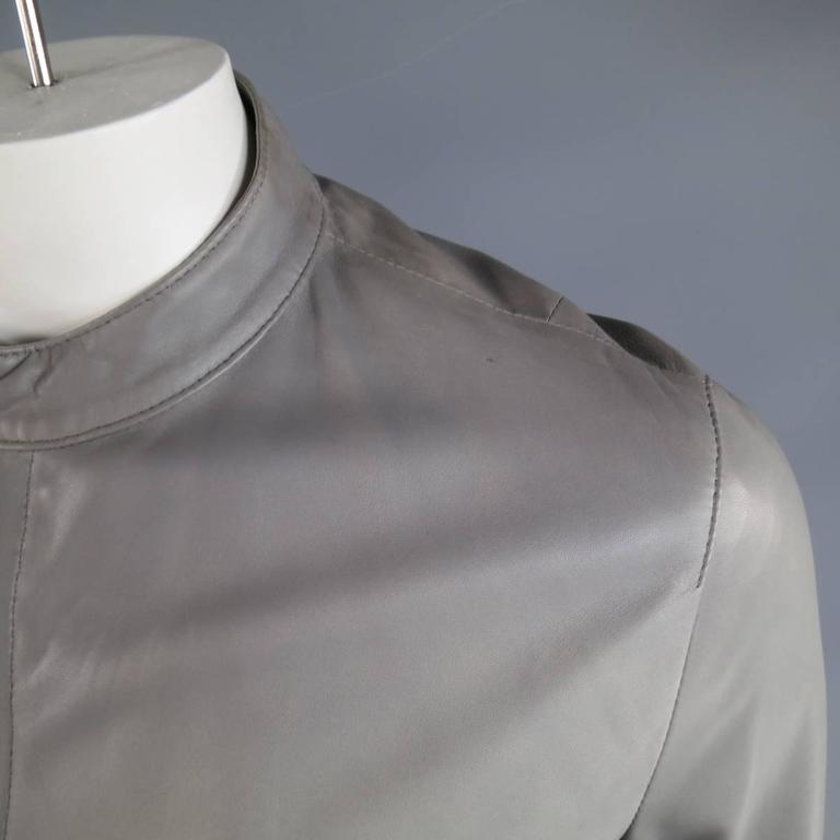 Men's DOLCE & GABBANA 38 Light Gray Leather Hidden Placket Moto Jacket 4