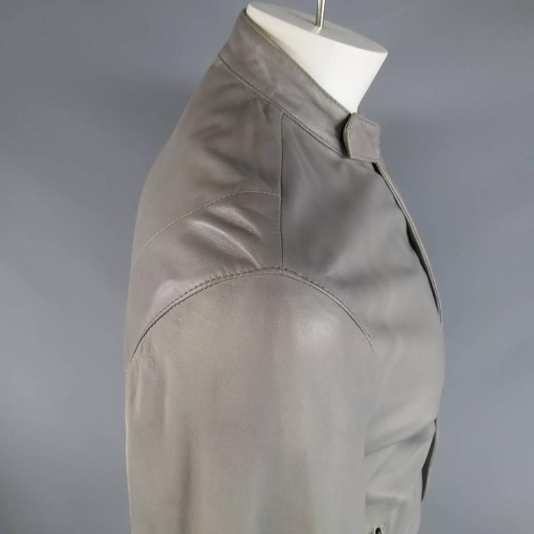 Men's DOLCE & GABBANA 38 Light Gray Leather Hidden Placket Moto Jacket 3