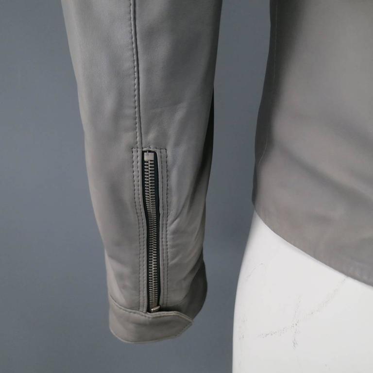 Men's DOLCE & GABBANA 38 Light Gray Leather Hidden Placket Moto Jacket 8
