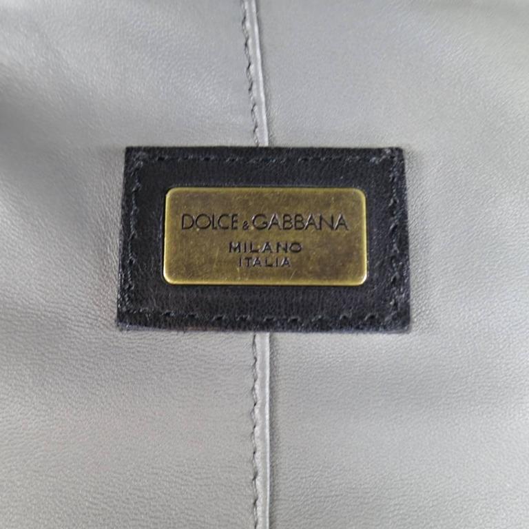 Men's DOLCE & GABBANA 38 Light Gray Leather Hidden Placket Moto Jacket 7
