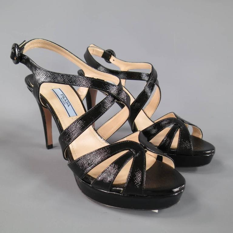 PRADA Size 7 Black Textured Patent Leather Strappy Platform Sandals 2