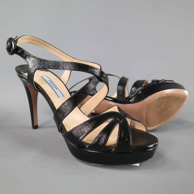 PRADA Size 7 Black Textured Patent Leather Strappy Platform Sandals 3