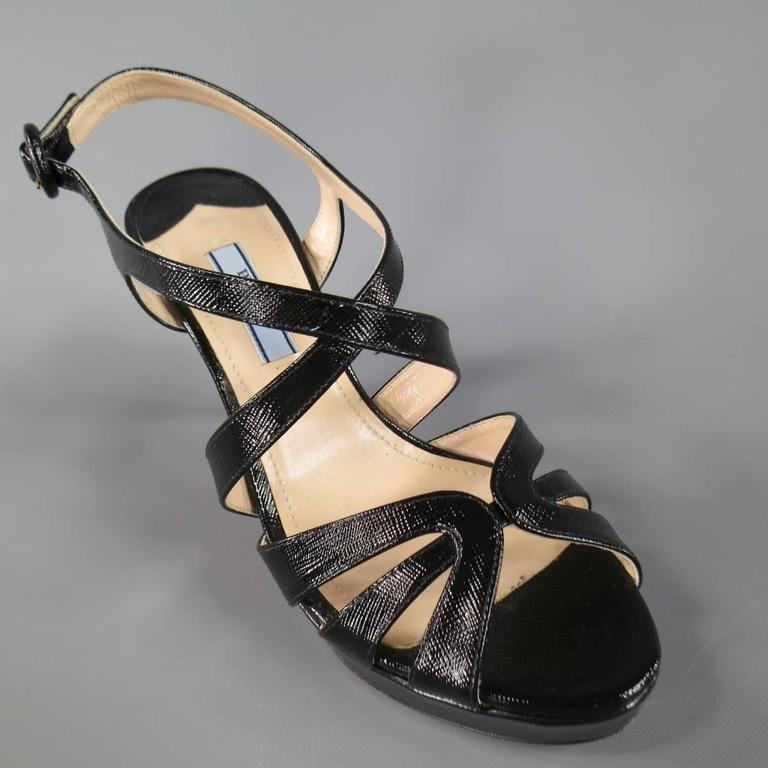 PRADA Size 7 Black Textured Patent Leather Strappy Platform Sandals 4