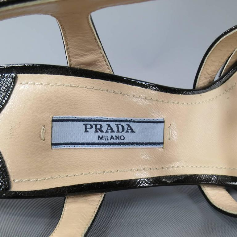 PRADA Size 7 Black Textured Patent Leather Strappy Platform Sandals 7