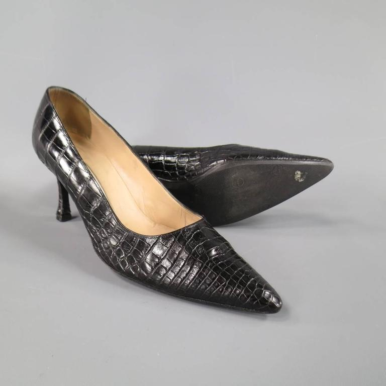 MANOLO BLAHNIK Size 8 Black Alligator Skin Leather Pointed Toe Pumps 3