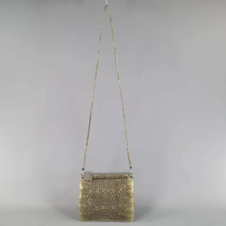 Vintage JUDITH LEIBER Light Green Snakeskin Leather Evening Handbag 8