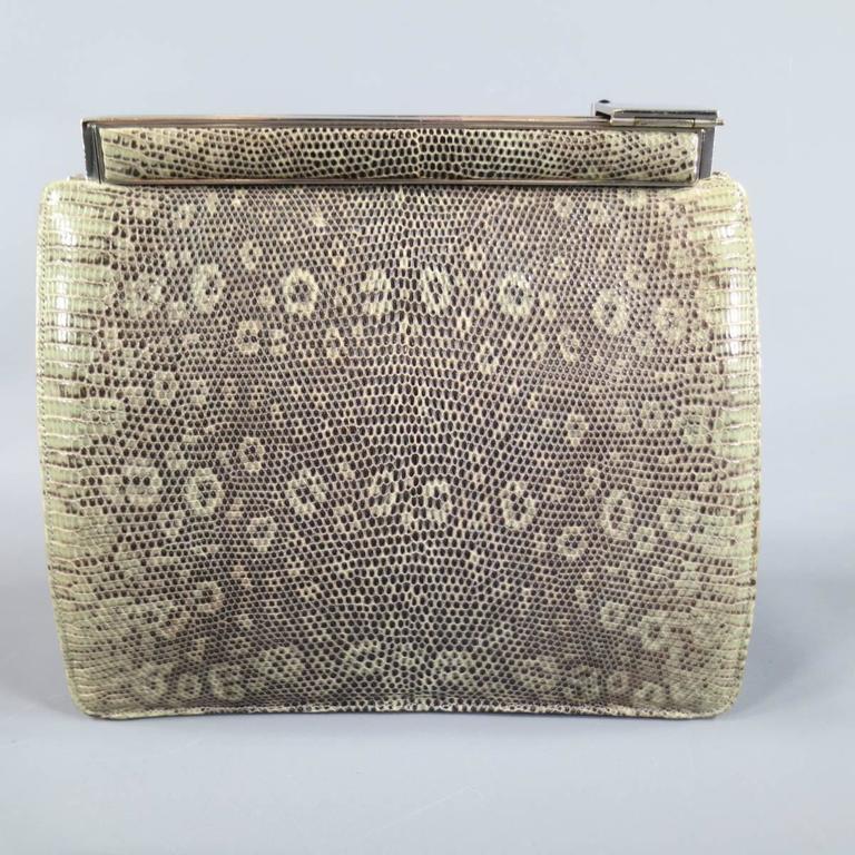 Women's or Men's Vintage JUDITH LEIBER Green Leather Evening Handbag For Sale