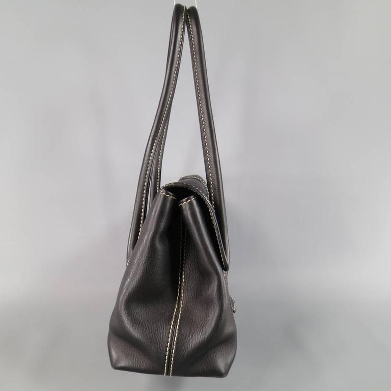 LORO PIANA Black Leather Contrast Stiching Dandy Shoulder Bag In Good Condition For Sale In San Francisco, CA