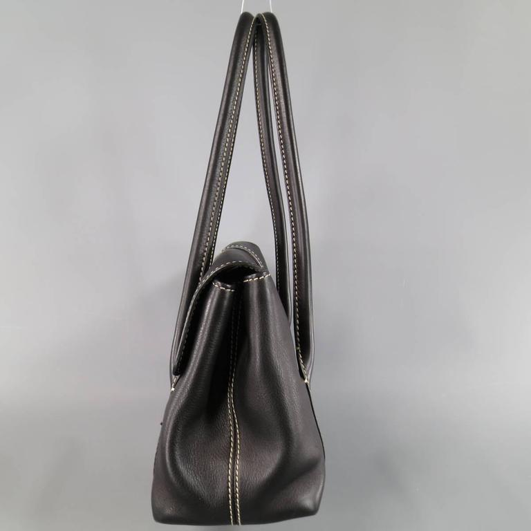 LORO PIANA Black Leather Contrast Stiching Dandy Shoulder Bag For Sale 1