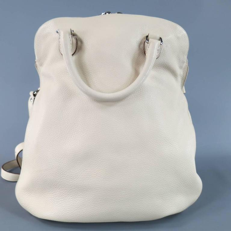 DOLCE & GABBANA Cream Textured Leather Miss Catch Fold Over Handbag For Sale 2
