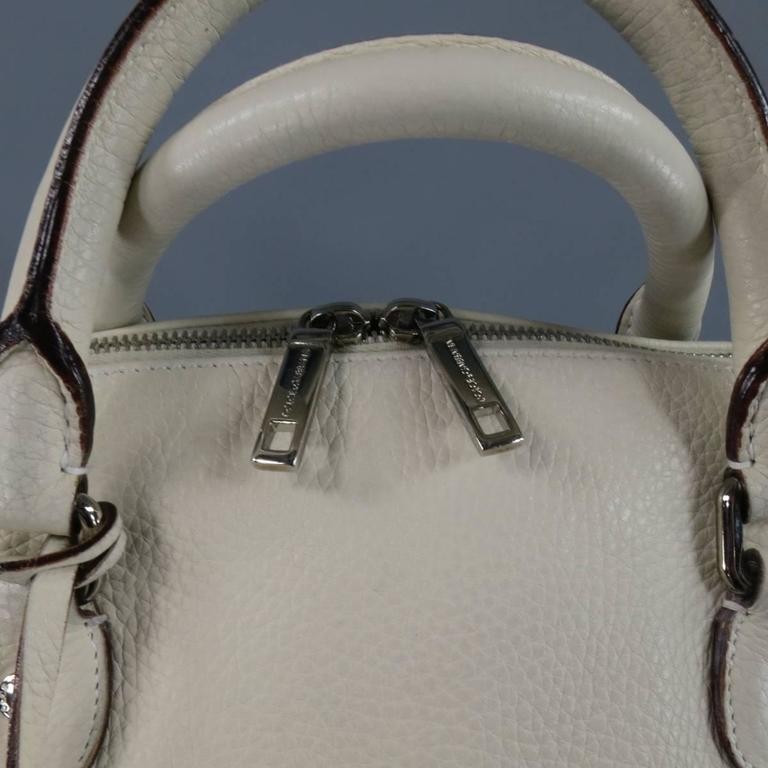 DOLCE & GABBANA Cream Textured Leather Miss Catch Fold Over Handbag In Excellent Condition For Sale In San Francisco, CA