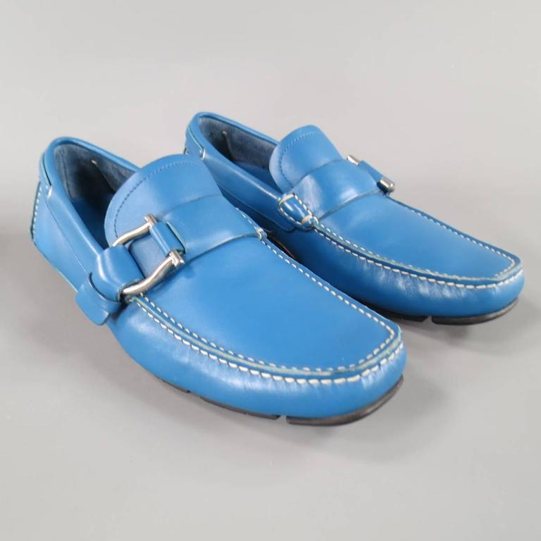 Men's SALVATORE FERRAGAMO Size 8 Teal Blue Leather Giancini Driver Loafers 2