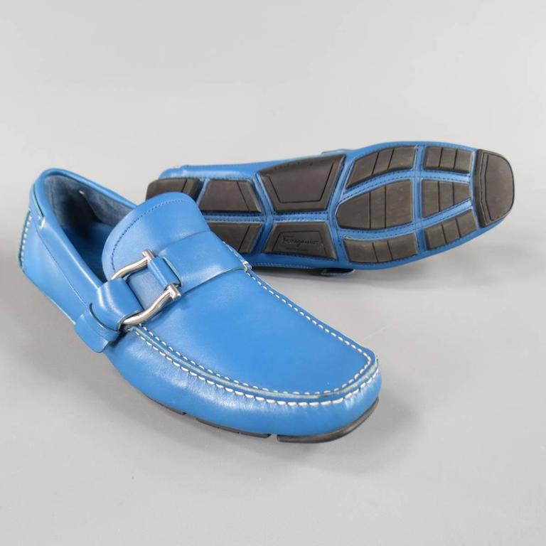 Men's SALVATORE FERRAGAMO Size 8 Teal Blue Leather Giancini Driver Loafers 3