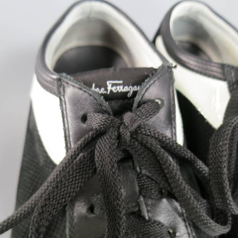 Men's SALVATORE FERRAGAMO Size 8 Black & White Suede Sneakers For Sale 1