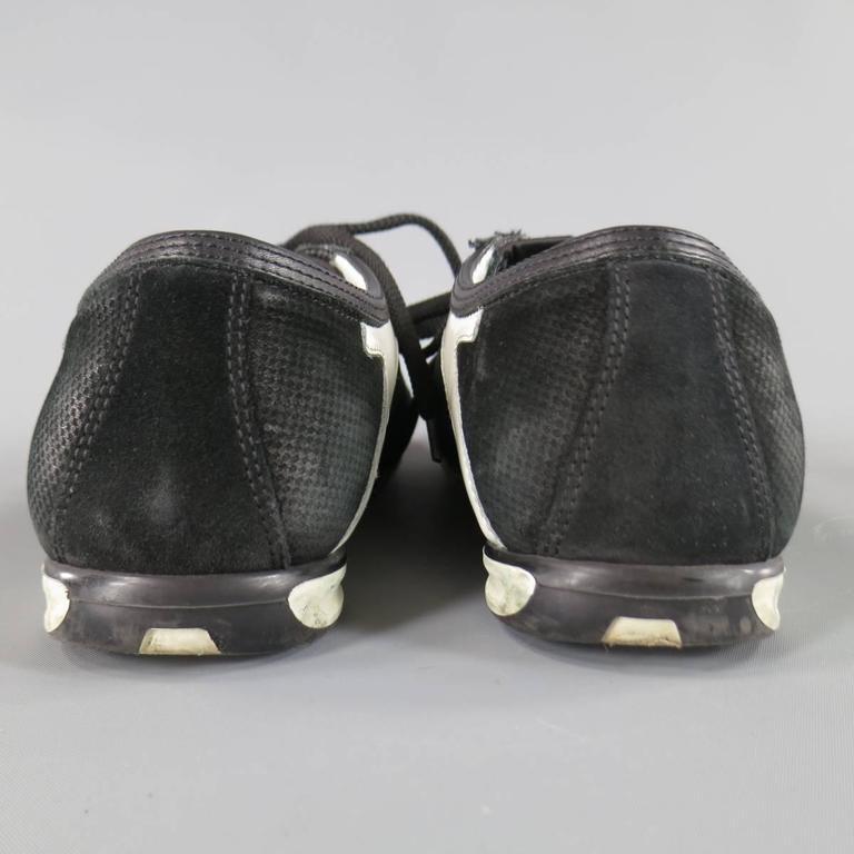 Men's SALVATORE FERRAGAMO Size 8 Black & White Suede Sneakers For Sale 4