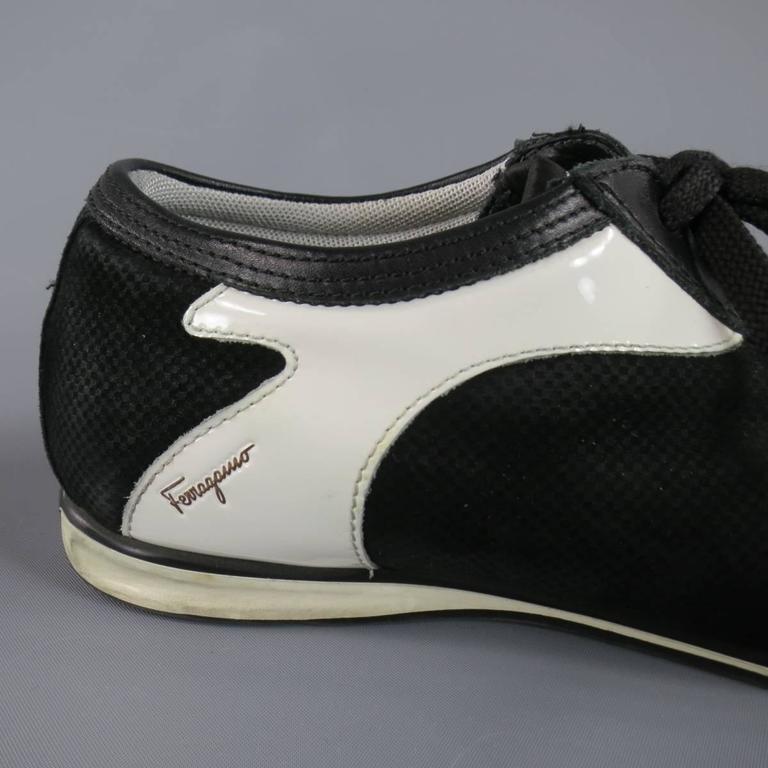 Men's SALVATORE FERRAGAMO Size 8 Black & White Suede Sneakers For Sale 3