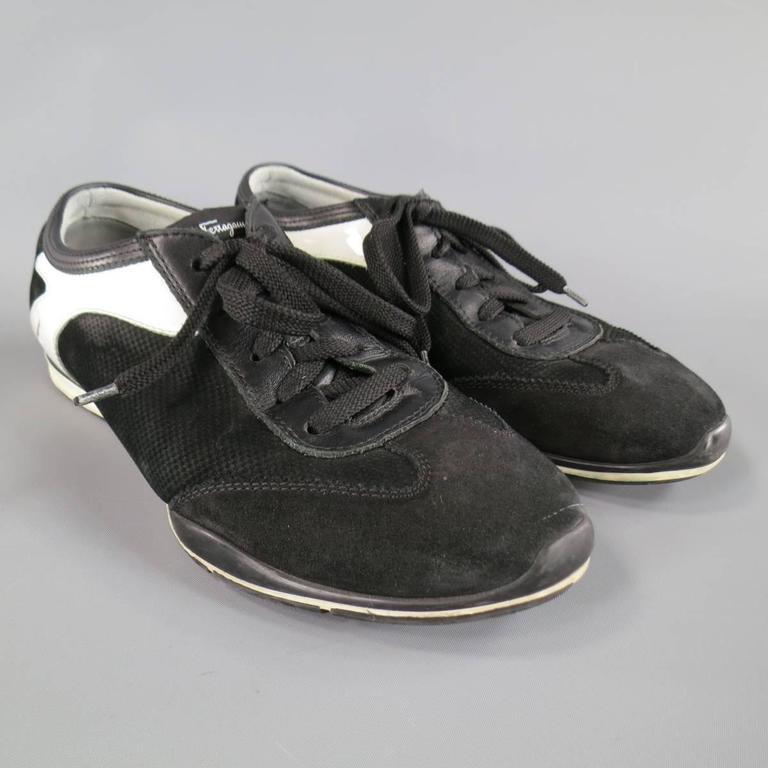 Men's SALVATORE FERRAGAMO Size 8 Black & White Suede Sneakers In Good Condition For Sale In San Francisco, CA