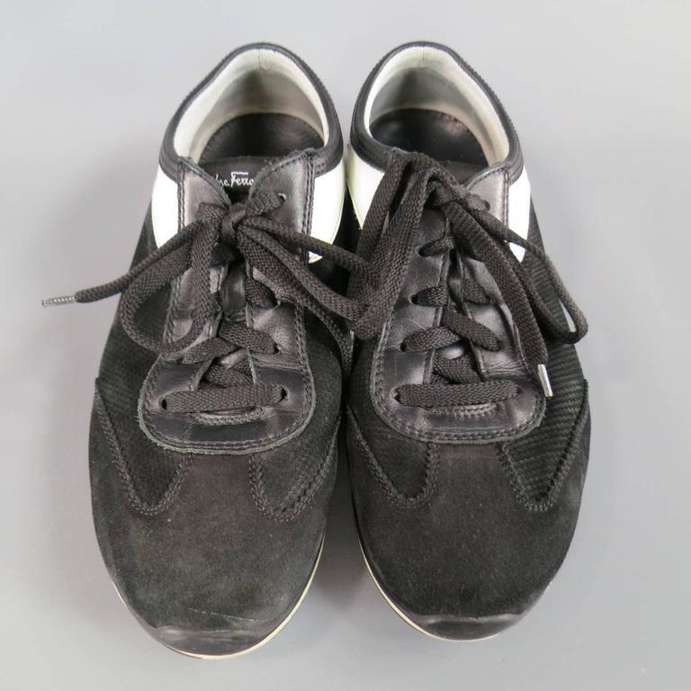 Men's SALVATORE FERRAGAMO Size 8 Black & White Suede Sneakers For Sale 2