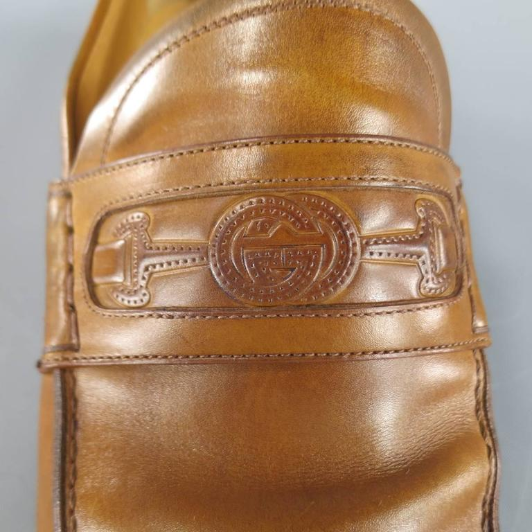 Men's GUCCI Size 7 Tan Ombre Leather Embroidered Horsebit Logo Loafers For Sale 1
