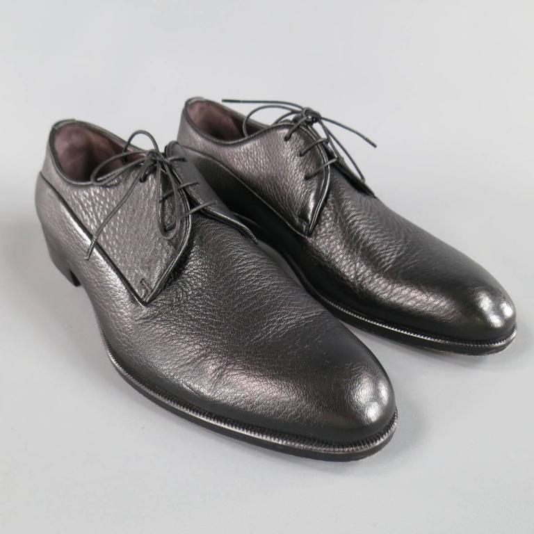 Men's ERMENEGILDO ZEGNA Size 8 Black Pebbled Leather Lace Up 3