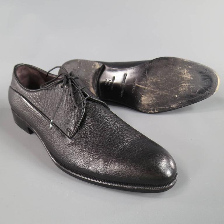 Men's ERMENEGILDO ZEGNA Size 8 Black Pebbled Leather Lace Up 4