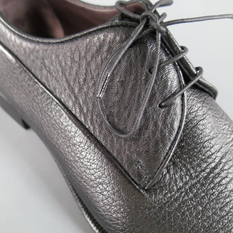 Men's ERMENEGILDO ZEGNA Size 8 Black Pebbled Leather Lace Up 2