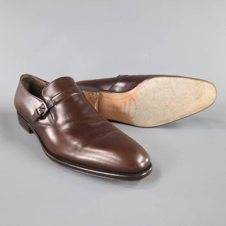 Men's SALVATORE FERRAGAMO Size 8.5 Brown Leather Monk Strap Loafers 2