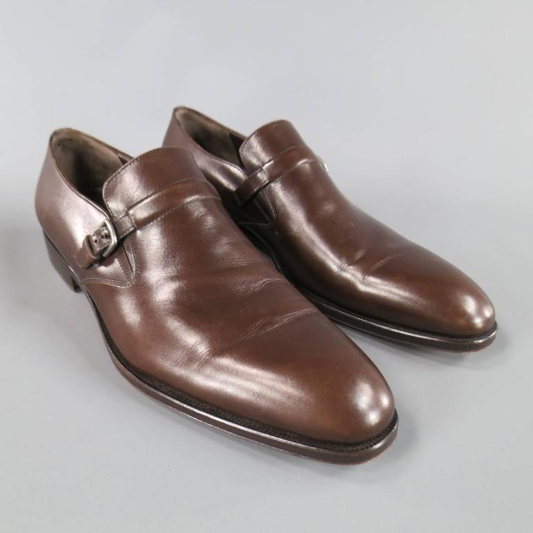 Men's SALVATORE FERRAGAMO Size 8.5 Brown Leather Monk Strap Loafers 4