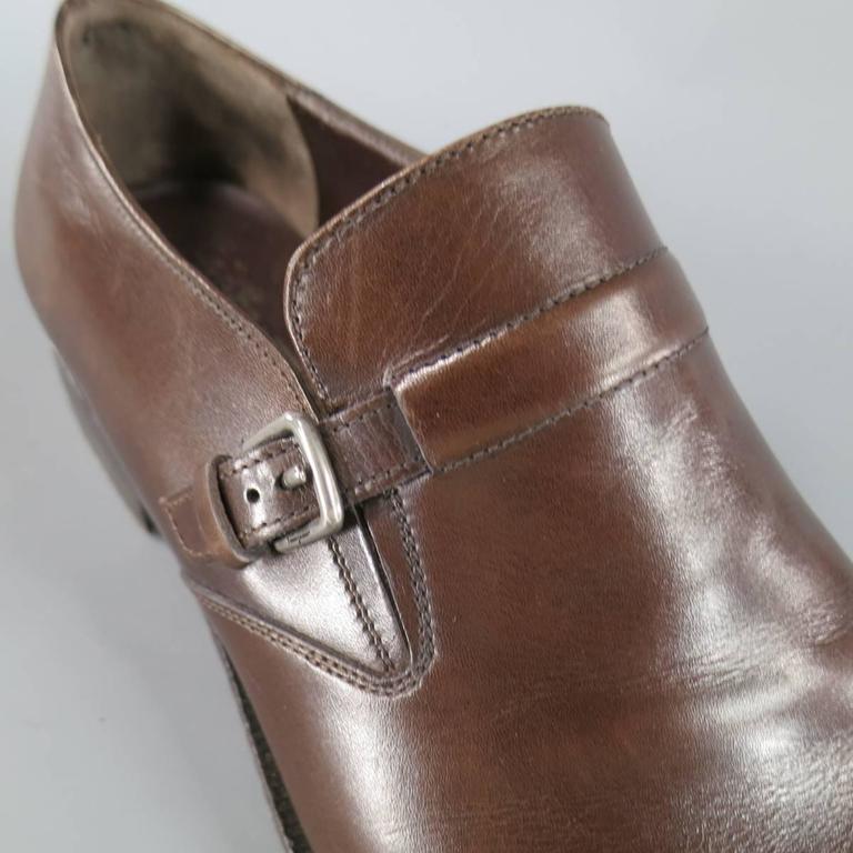 Men's SALVATORE FERRAGAMO Size 8.5 Brown Leather Monk Strap Loafers 3